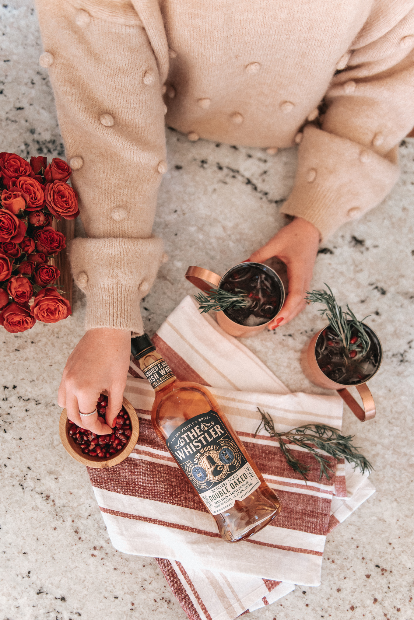 Pomegranate Whiskey Mule Recipe | cocktail recipe | Louella Reese