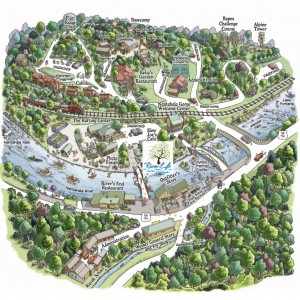 The River of Life is located in the middle of the Nantahala Outdoor Center Campus.