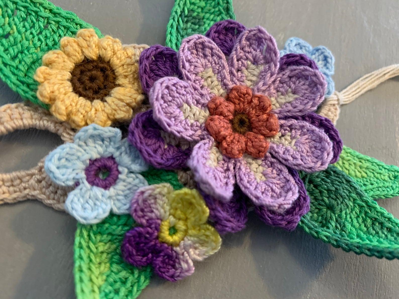 Boho Hippie Chic Crochet Flower Bracelet Bangle Cuff