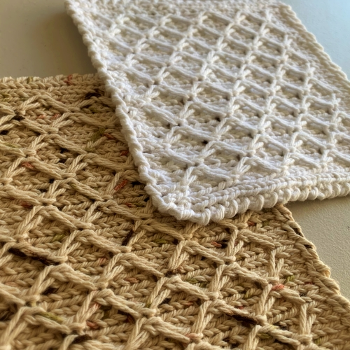 Hand Knit Dishcloths Diamond Motif – FREE Shipping!
