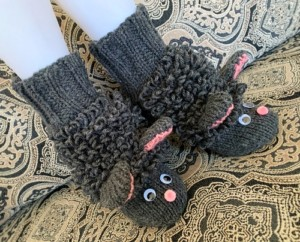 hand knit sheep slippers