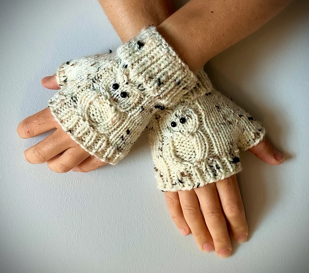Hand Knit Owl Fingerless Gloves – FREE Shipping!