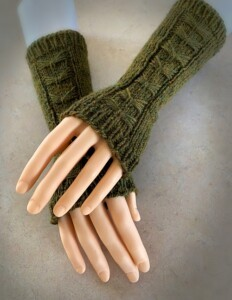 Green bow fingerless arm warmers