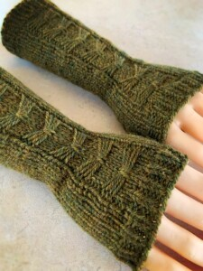 Green bow fingerless arm warmers
