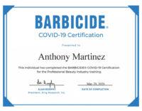 Barbicide Certificate
