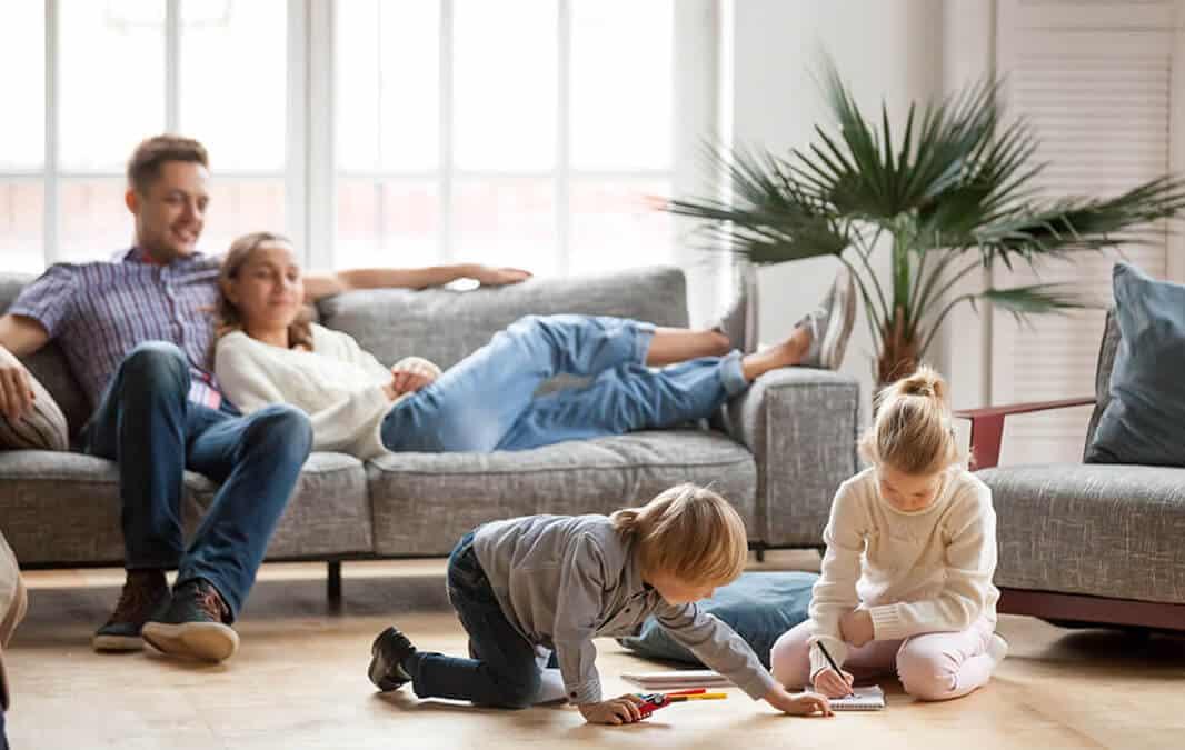 Happy family having fun indoor