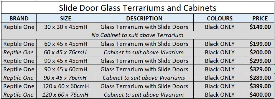 Slide Glass Door Terrariums and Cabinets