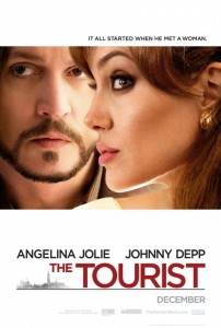 Movie poster for The Tourist, featuring Angelina Jolie and Johnny Depp