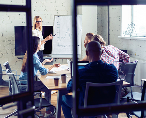 Business Process Optimization Working hard to win. Businesswoman conducting a business presentation using flipchart whil