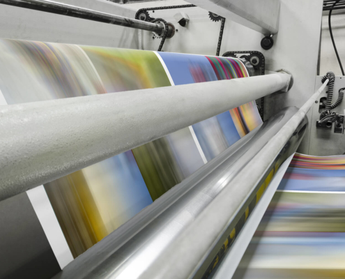 Production Printing Close up of an offset printing machine during production