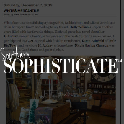White's Mercantile is mentioned in Southern Sophisticate