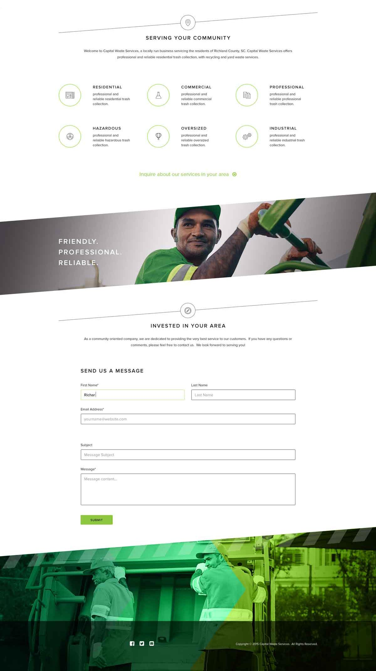Capital Waste Services home page design