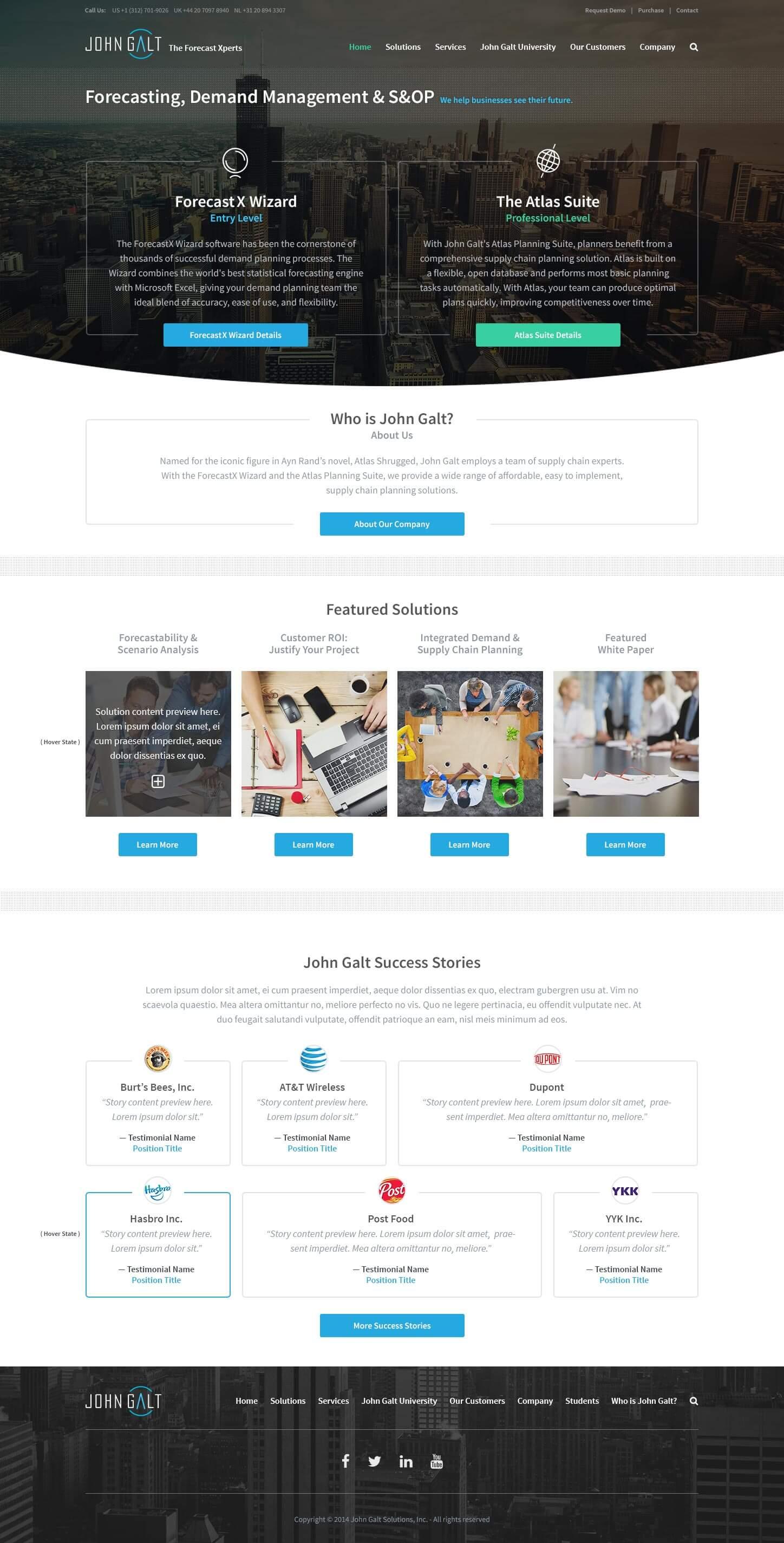John Galt home page design