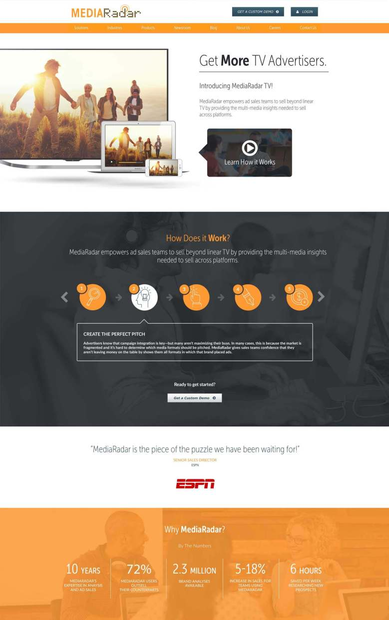 MediaRadar website design