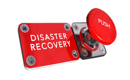 This picture shows a red button to push for disaster recovery