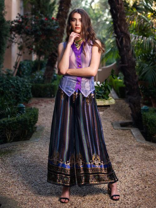 -Purple silk chiffon top  -Loose silk chiffon pants