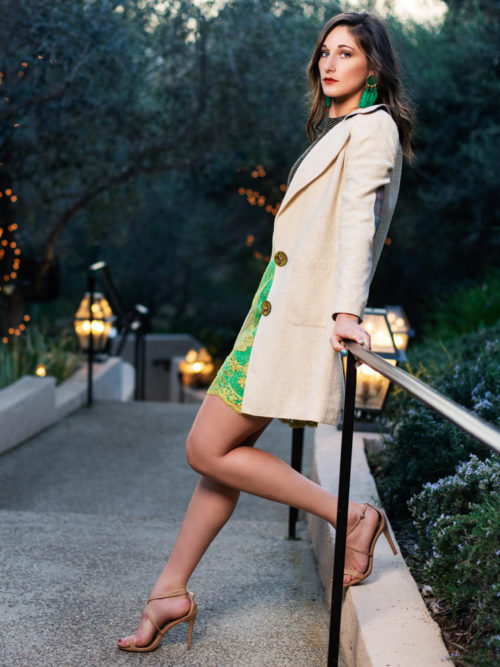Silk elbow patch trench coat