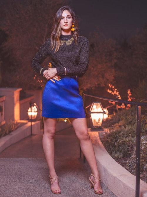 -Metallic shimmer top -Blue silk skirt