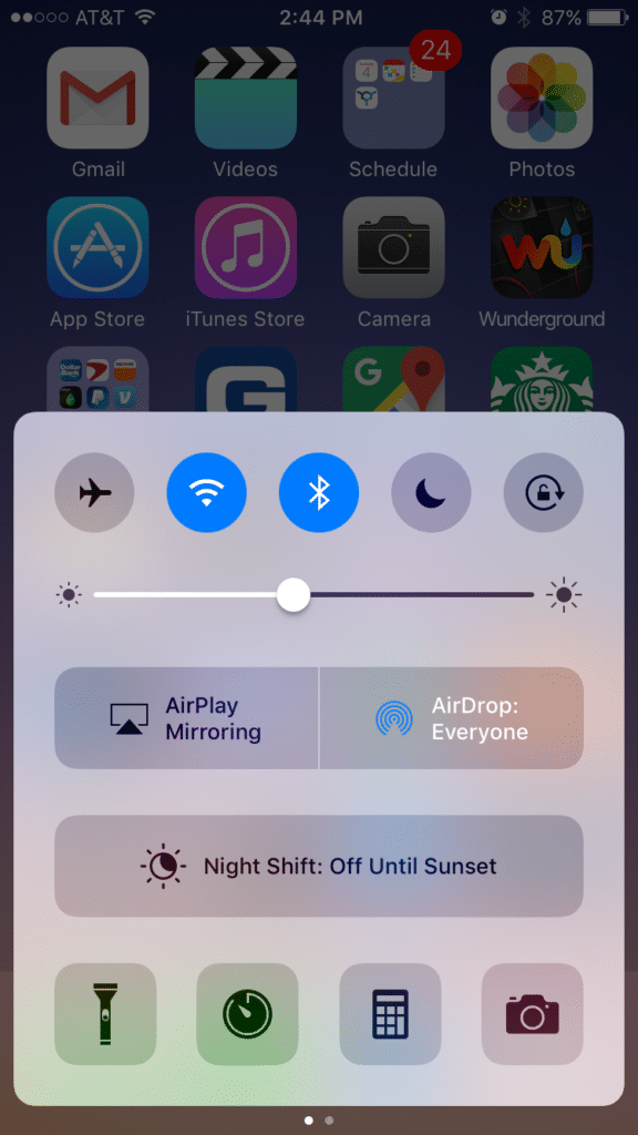 Adjust your iphone's brightness by swiping up from the home screen
