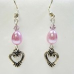 Lavendar Pearl and Heart Earrings