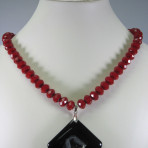 Druzy Pendant with Red Velvet like Beads