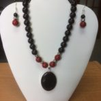 Black Onyx and Red Stone Necklace