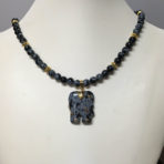 Obsidian Necklace with Elephant Pendant