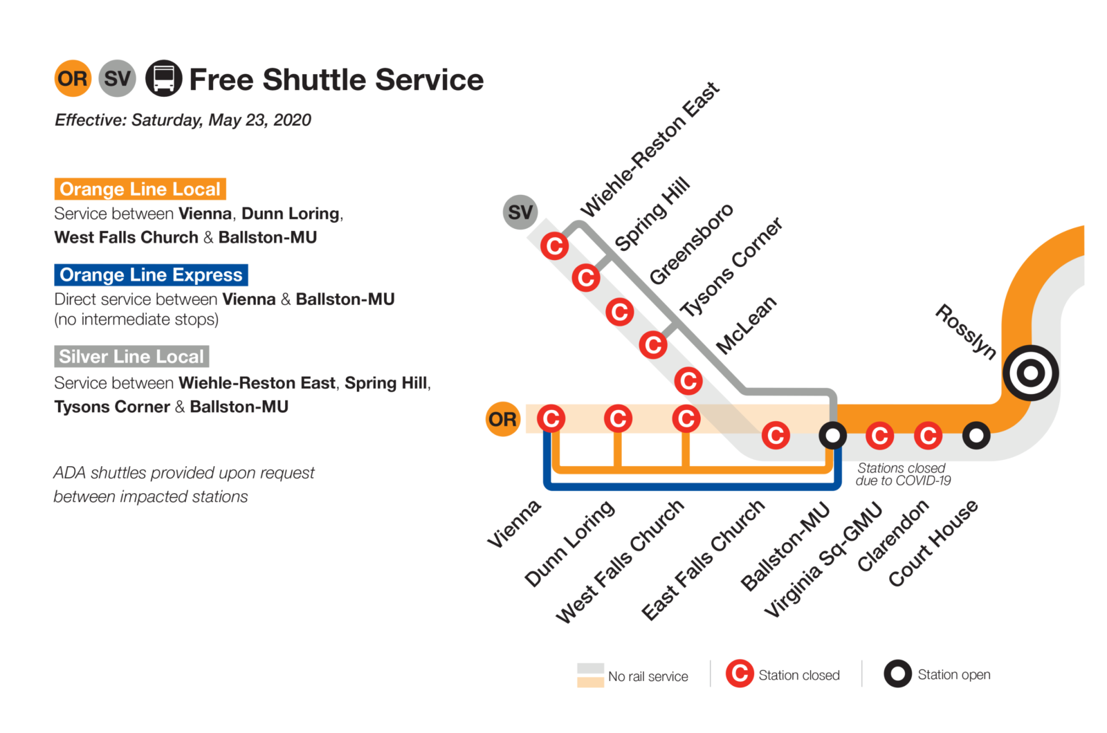 Silver and Orange Line Shutdown Summer 2020