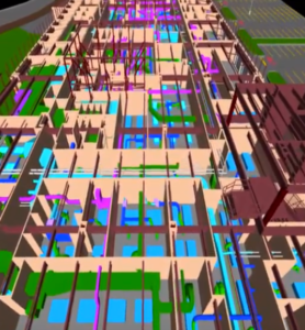 BIM model of hospital showing mechanical pipe, electrical, structural, and architectural design