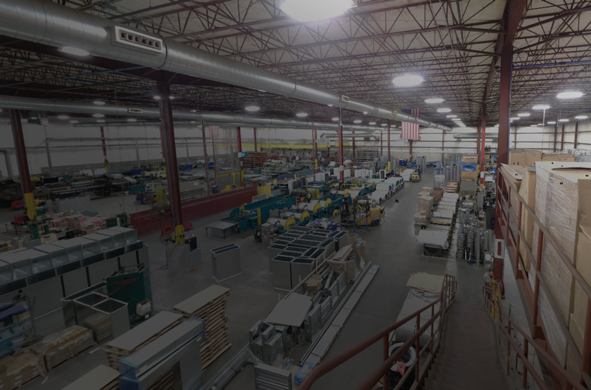 3D laser scan of a sheet metal and fabrication warehouse taken with a Faro 3D scanner
