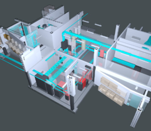 Ceiling view of BIM model showing electrical equipment