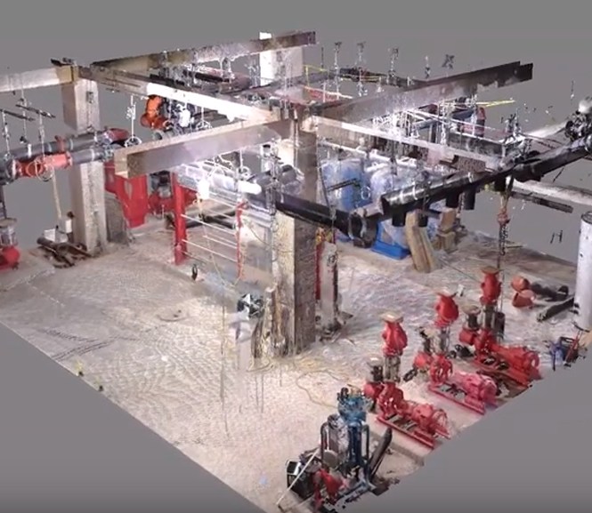 3D laser scan of a mechanical room