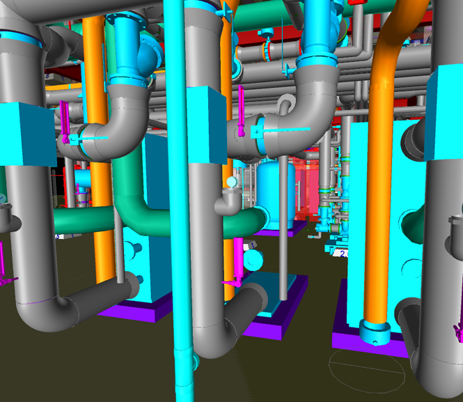 BIM model of mechanical pipe inside boiler room