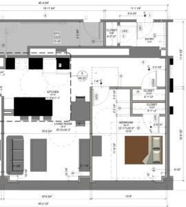 Architectural Blueprint with material list and drawing dimensions