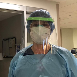 Phoenixville Hospital Nurse Wearing Face Shield and Face Mask