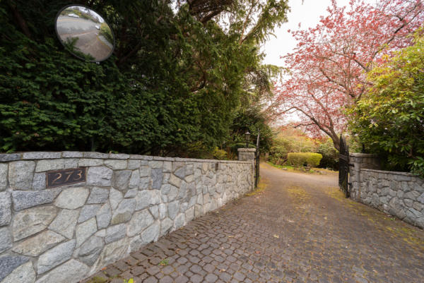 gated driveway of waterfront property