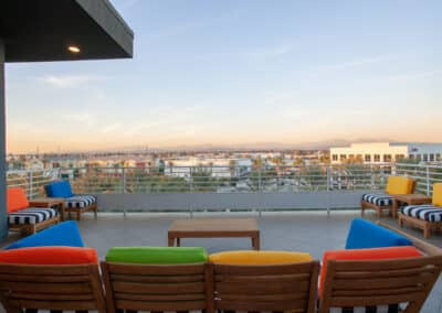 Scenic rooftop deck with the view of Anaheim