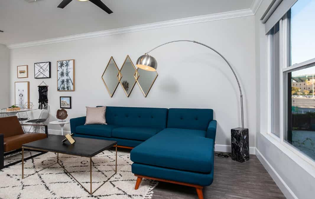 Blue couch and gooseneck floor lamp