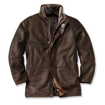 Shearling leather coat for men