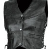 MENS BLACK LEATHER MOTORCYCLE BIKER VEST SIDE LACES