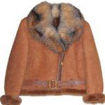 Tan Short Sheepskin with Crystal Fox Fur Collar