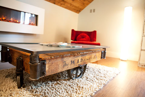 This factory vintage cart was the perfect ingredient for my Coffee Table. I topped it with an ironweave glass top to bring the height up and create a more industrial feel.