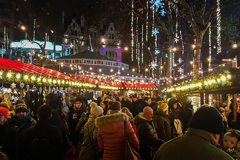 A crowd of people at Chrstmas Markets