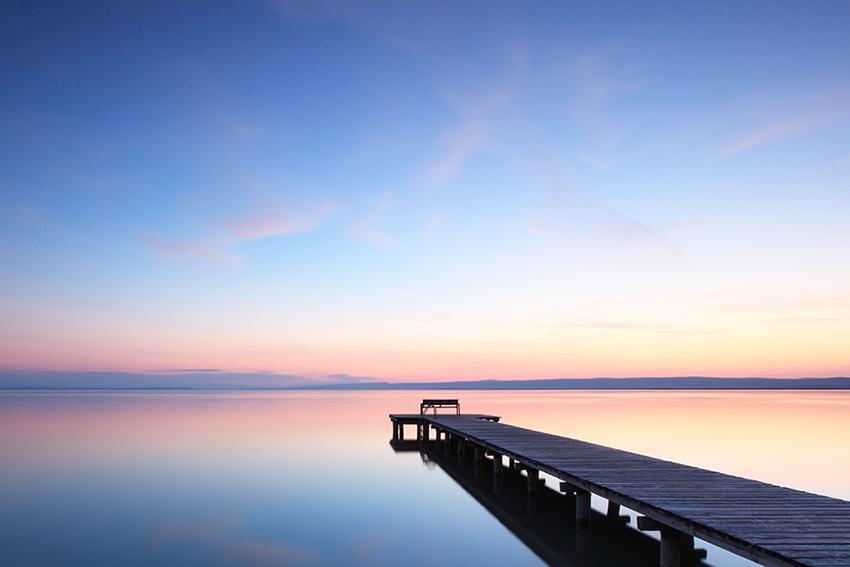 Still lake and sunrise