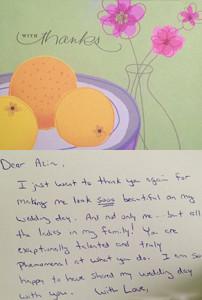 Thank You Card Makeup Artist Virginia Washington DC Maryland