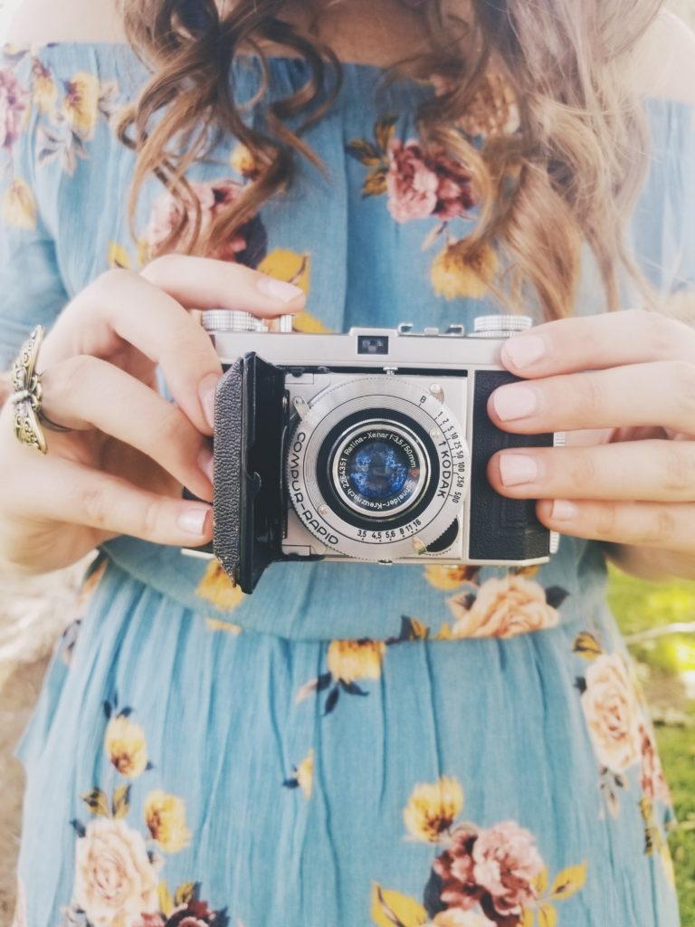 vintage camera, romper, target, brunette