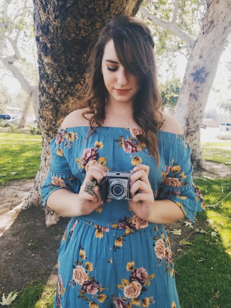 romper, antique camera, cute, summer, spring, outfit