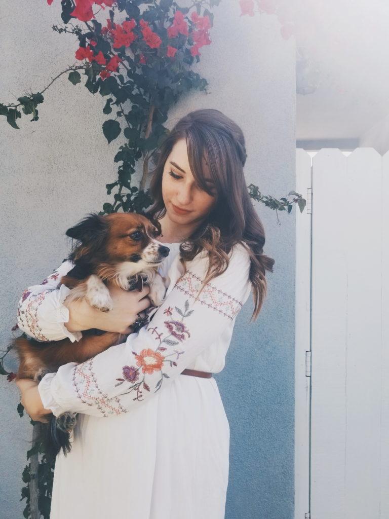 dress, flowers, target, brunette, boots, lauren conrad, spring, summer, lookbook, dog