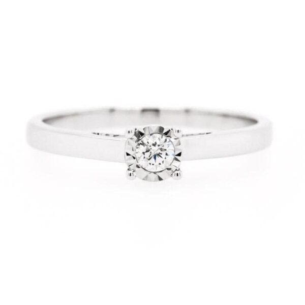 Petite Halo Solitaire Engagement Ring 0.10ct