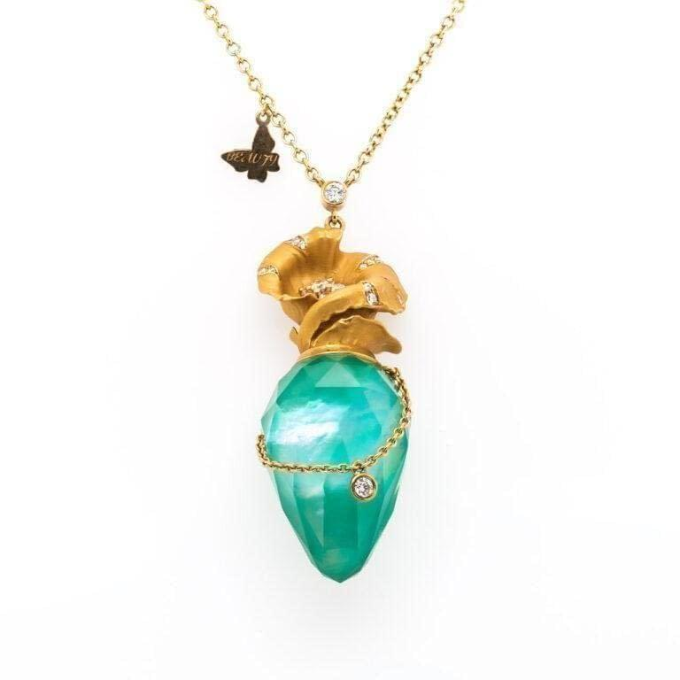 18K Yellow Gold Necklace Aqua Stone